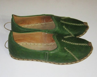 Genuine Leather  HandMade  Organic Turkish Yemeni Shoes  green  Number feet from 34 to 47