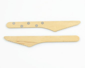 WOOD KNIFE CUTLERY (Set of 10) - Wood Knives with Silver Dots (16cm)