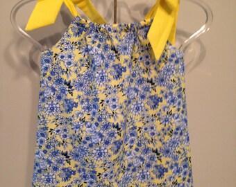 Blue and yellow florat Pillowcase dress girls Size 2
