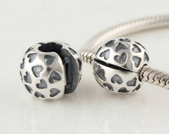 Sterling Silver Clip & clasp hearts charm -european charm sterling