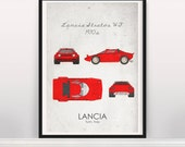 Lancia Stratos HF. 1970s. Wall Art. Car Graphic. Digital Print. Typography A3 A2