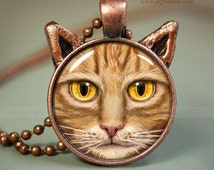 Orange Tabby Cat pendant // Cat necklace resin pendant // Orange Tabby cat jewelry // Cat Jewelry Picture Pendant // OTB9