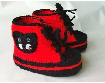 Baby Sneakers Baby Booties Crochet Cat shoes Baby shoes - red black