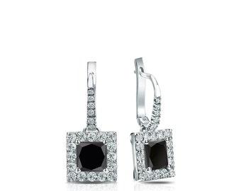 14k Gold Dangle Studs Halo Princess-Cut Black Diamond Stud Earrings 0.75 ct. tw.