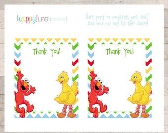 Sesame Street Thank You Cards- PRINTABLE- Elmo- Cookie Monster- Oscar Grouch- Custom- Modern- Boys Birthday- Elmo Invitations
