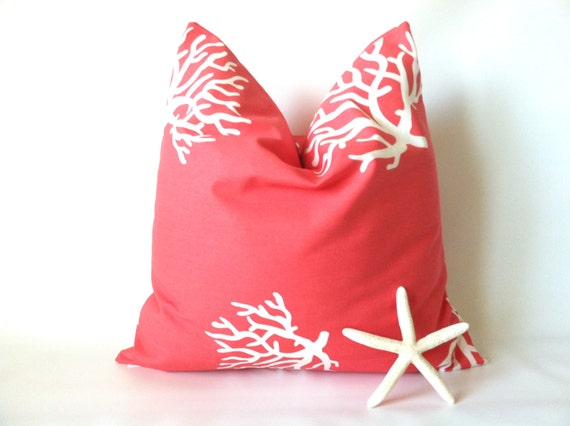 coral navy beach pillow cover set 18 x 18 two beach pillows ocean decor sea coral pillow beach decor coral navy cushions