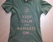 Ladies Small Aqua Blue Keep calm Yoga T shirt Pilates Bella brand form fitting Namaste comfortable cotton keep calm and yoga