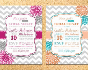 Chevron & Dahlias Invitation - Bridal Shower - Baby Shower - Birthday Party - Printable