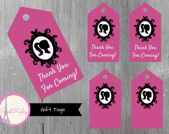 Printable Fashionista Barbie Gift Tags & Favor Tags! Thank You Tags, Blank Tags, Barbie, Pink, Black