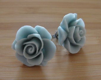 Large Light Blue Green Flower Earrings