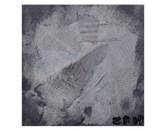 abstract Original Drawing on Collage / Canvas / mixed media grey blue brown free shiping 7,8x7,98 inch