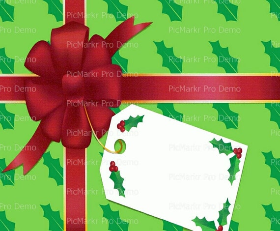 Christmas Gift Wrapping Paper Background - Edible Cake and Cupcake Topper For Birthday's and Parties! - D2242