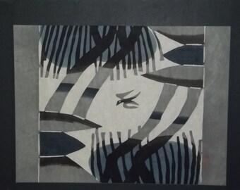 Japanese hand stenciled dyed print by Samiro Yunoki apprentice to Keisuke Serizawa now deceased.