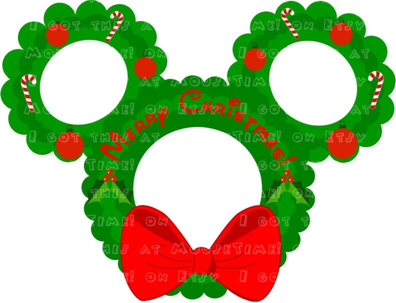 IRON-ON Christmas Deck the Halls Wreath Ears Mickey by MouseTime