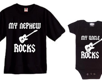 My Nephew rocks and my Uncle rocks Mens and baby kids matching shirt and bodysuit set of 2 great gift size choice new