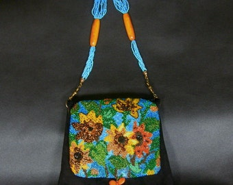 Unique,Handmade handbag,Suede,Black,Embroidered,Sunflowers,Butterfly,Boho,Unique bags,Girl,Woman,Gift,Event,OOAK