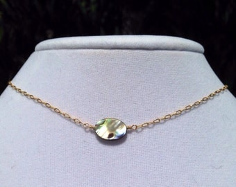 Short abalone and gold necklace