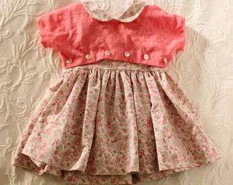 2T · Vintage Sundress and Jacket · Coral, Pink Floral