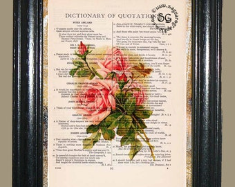 Vintage Roses Art - Vintage Dictionary Page Book Art Print Unique Upcycled Page Art Mixed Media Roses Print
