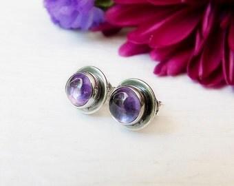 Amethyst Gemstone Stud Earrings, Purple Stone Sterling Silver Stud Earrings, Post Earrings, February Birthstone Earrings, Everyday Earrings
