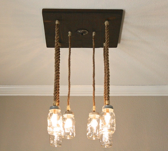 Items Similar To Rustic Mason Jar Chandelier With Nautical
