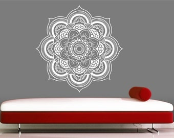mandala wall decal sticker yoga om namaste yoga decor wall vinyl decal lotus interior home decor - Wall Art Design Decals