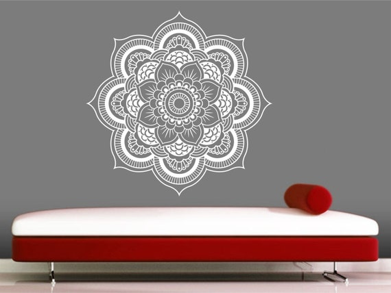 Mandala wall decal autocollant yoga om namaste yoga d cor for Mural mandala