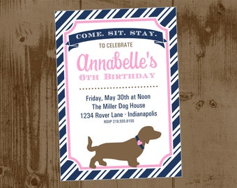 Pink and Navy Preppy Puppy Dog Printable Party Invitation