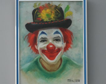 Vintage Oil On Canvas Happy Clown By Silion Painting