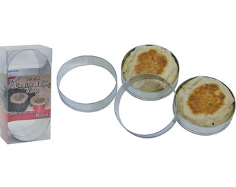Set of 4 English Muffin Rings Round Cookie Cutters Baking supplies with recipe