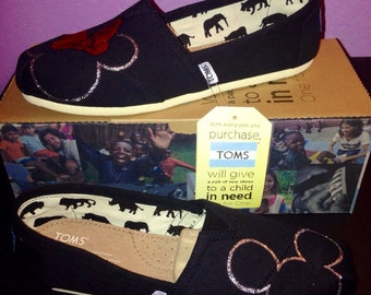 Classic Toms- Mickey/Minnie in Silver Glitter/Red Bow