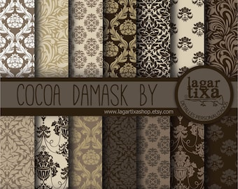 Brown Damask Digital Paper Cocoa Chocolate Neutral Beige  organic earth tones Background patterns Scrapbook Blog invitations cards
