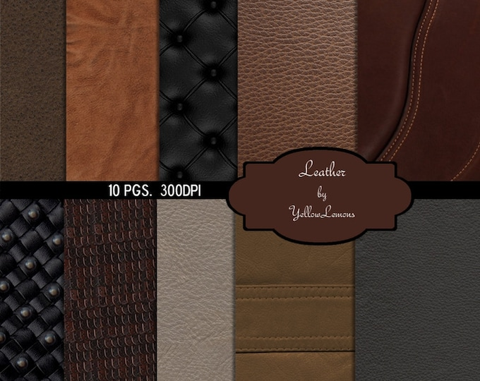 "INSTANT DOWNLOAD-Leather Texture Digital Scrapbooking Paper Pack, 12""x12"", 300 dpi .jpg"