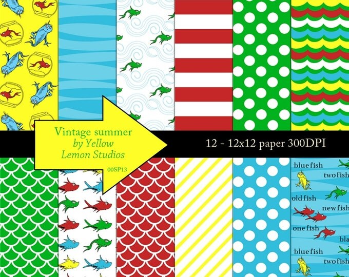 Digital scrapbooking paper Inspired red fish blue fish one two 8.5x11 quality paper -Water, fish bowl, teaching, red, blue, yellow, green