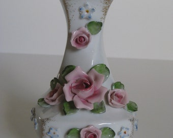 Pink Rose Lefton China Vase