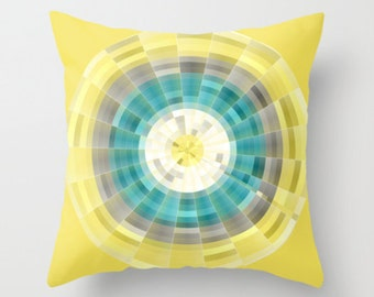 Geometric Pillow Cover in Teal Yellow Grey White Modern Home Decor Living room bedroom accessories Cushion Decorative Pillow Cover