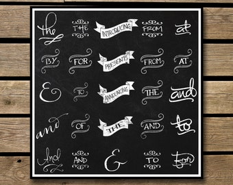 Clipart - Chalkboard Typography - Instant Download - 50 Transparent PNG Files plus EPS Vector file - Catch Phrases - Connecting Words