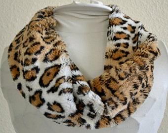 Women's Animal Print Minky Faux Fur Cowl, Neck Warmer, Neck Piece, Circle Scarf, Ready to Ship!