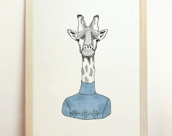Giraffe Art Drawing Print Giclee Poster Blue Black White Wall Hanging Fashion Animal Head Illustration Children Room Decor