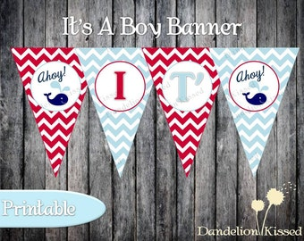 Baby Blue Red Whale Baby Boy Shower Digital Printable Banner