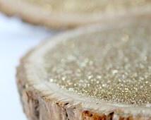 """10 Small Glitter Tree Stump Slices for Vintage and Rustic Celebrations (Set of 10) 6"""" Size"""