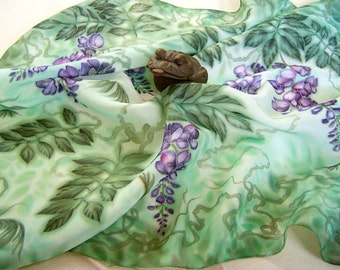 Silk scarf shawl Hand painted Wisteria painting on silk Wearable art OOAK Purple flowers Green head neck scarf square floral