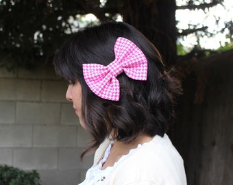 Girl Hair Bow, Pink Bow, Pink Hair Bow, Pink and White Bow - Houndstood Print Hair Bow - Big Pink Bow