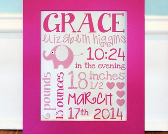 Personalized Birth Announcement 8x10 Wall Art, Baby Nursery Decor, Baby Birth Stats