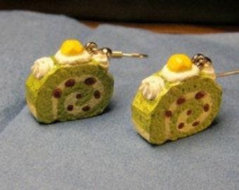Green Tea Swiss Roll earrings on silver French hooks