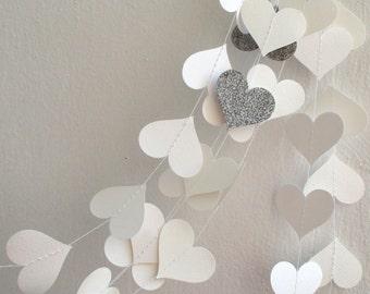 White Silver glitter Paper Garland ,Wedding Decoration, shower decor, White paper heart garland Wedding inspiration