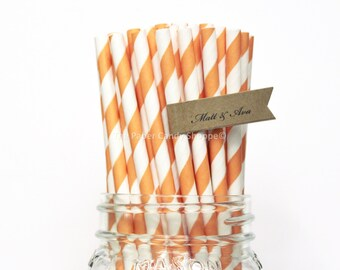 Orange Paper Straws, 25 Striped Paper Straws, Wedding Table Setting, Baby Shower, Kids Birthday Party, Cake Pop Sticks, Made in USA,