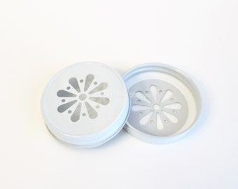 Mason Jar Lids, White Daisy Lids, Colored Daisy Cut Lids, Vintage Wedding Table Setting, Plastic Mason Jar Lids, Baby Shower, Kids Birthday