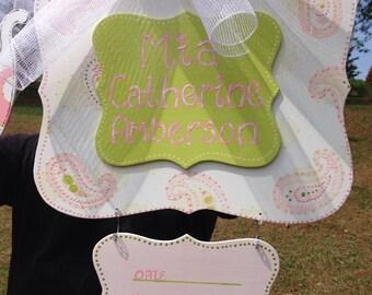 Baby announcement  door hanger,Polk a dot pink baby hospital door hanger,Personalized Baby door hanger ,hospital wreath,baby shower
