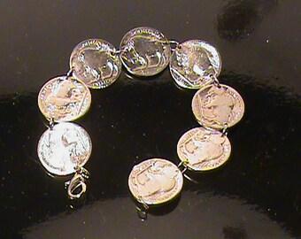 Handmade Buffalo Bracelet from Indian Head Nickels